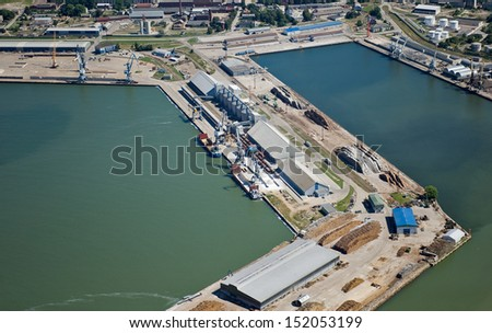 aerial view over the Liepaja port - stock photo