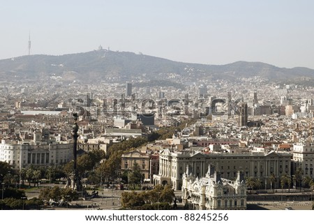Aerial view over the old district of Barcelona - stock photo