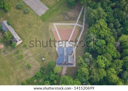 aerial view over the open-air stage - stock photo