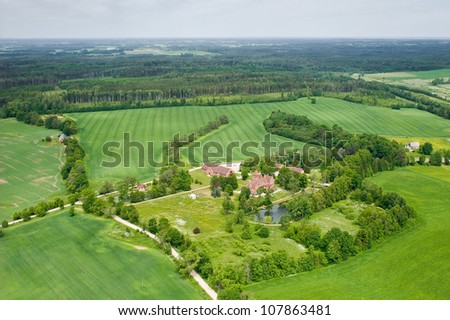 aerial view over the palace - stock photo