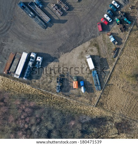 aerial view over the parking place - stock photo