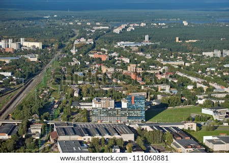 Aerial view over the Riga city - stock photo