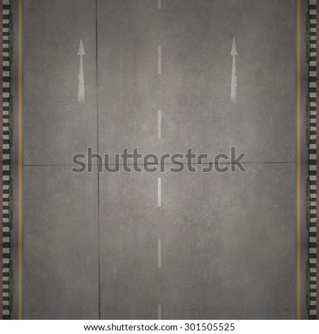 Aerial view over the road and highway - stock photo