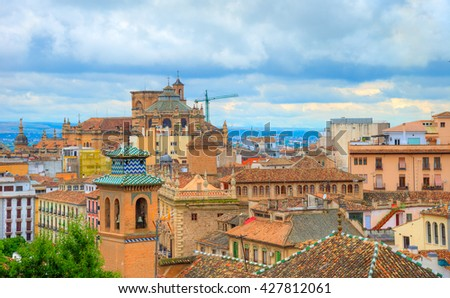 Aerial view over the roof of buildings in Granada- Alhambra, Spain - stock photo