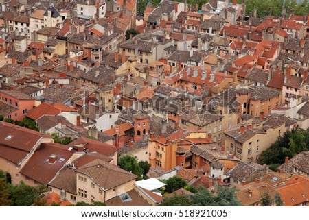 Aerial view over the roofs of old  city
