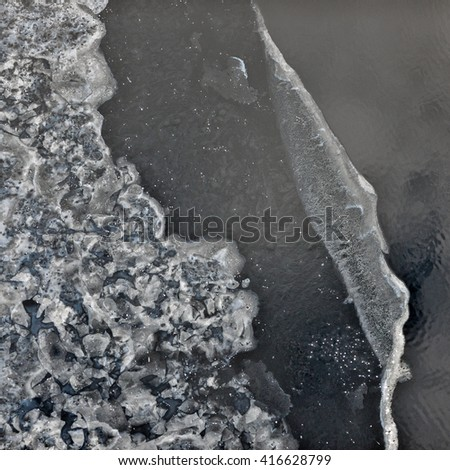 aerial view over the surface of water