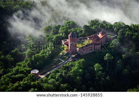 aerial view over the Turaida castle - stock photo