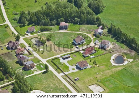 aerial view over the village and private houses