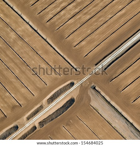 aerial view over turf yield - stock photo