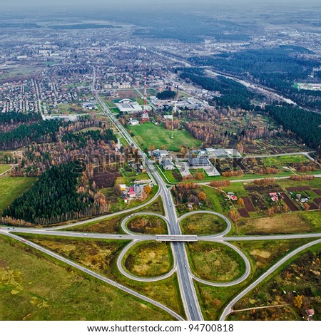 Aerial view over Valmiera town - stock photo