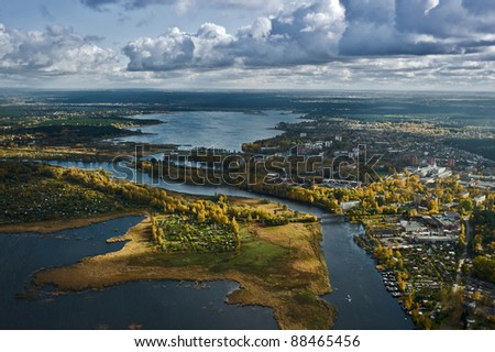 Aerial view over water ways in Riga city - stock photo
