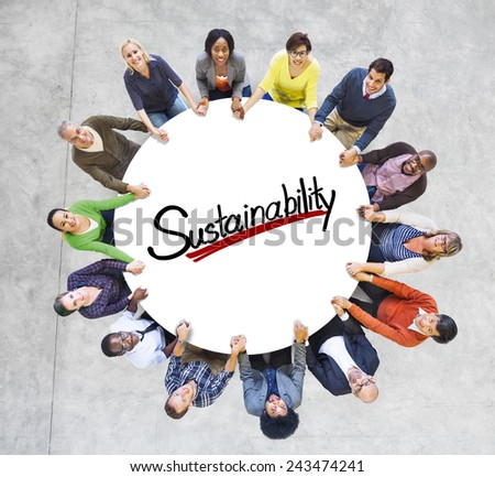 Aerial View People Community Sustainability Green Business Concepts - stock photo
