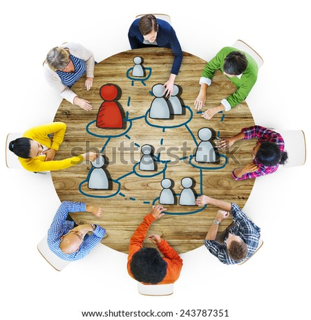 Aerial View People Connection Human Resources Meeting Concepts - stock photo
