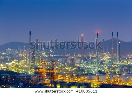Aerial view power plant refinery night view - stock photo