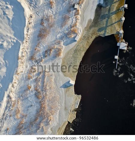 aerial view river coast - stock photo