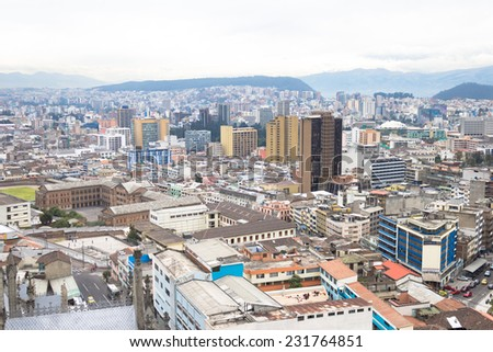 aerial view rooftops and modern side of Quito Ecuador South America - stock photo