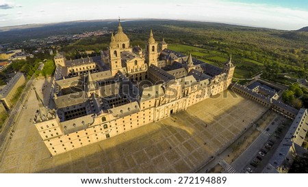 Aerial view Royal Monastery of San Lorenzo de El Escorial near Madrid, Spain / STUNNING VIDEO AVAILABLE (UHD Quality) on my footage gallery. - stock photo
