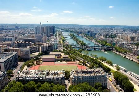 Aerial View - Scene of Sena River - Paris - France - stock photo