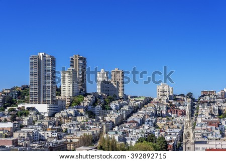 Aerial View / Skyline of Russian Hill, North Beach and Downtown areas of San Francisco, CA USA