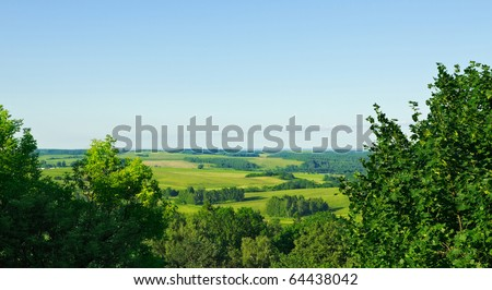 aerial view summer rural landscape - stock photo