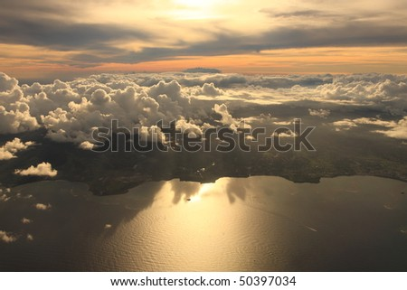 Aerial view sunset over Antigua in the Caribbean - stock photo