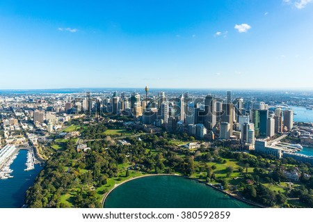Aerial view Sydney Central Business Districs and Royal Botanic Gardens. View on Sydney harbourside suburbs from above. Aerial view on Sydney harbourside, Sydney CBD, Sydney Royal Botanic Gardens - stock photo