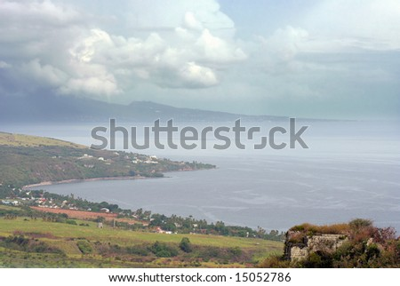 Aerial view taken from Brimstone Hill Fortress, St. Kitts, West Indies. - stock photo