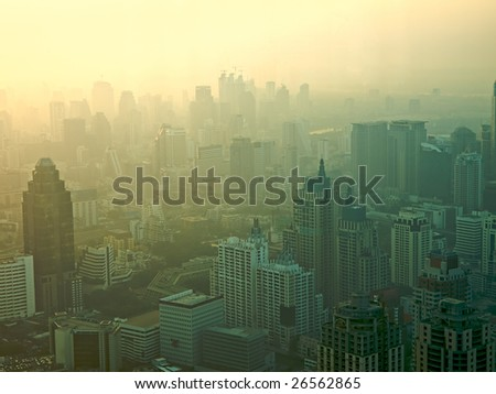 Aerial view to Bangkok downtown. Thailand - stock photo
