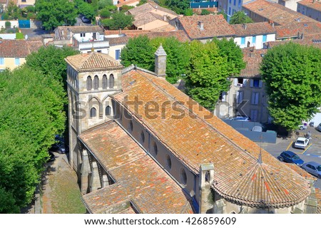 Aerial view to Gothic building of Saint Nazaire Basilica, Carcassonne, Languedoc-Roussillon, France - stock photo