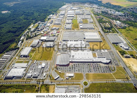 Aerial view to industrial zone and technology park on Bory suburb of Pilsen city in Czech Republic, Europe. - stock photo