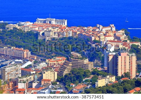 Aerial view to Monaco town and harbor near the Mediterranean sea, Monaco, French Riviera - stock photo