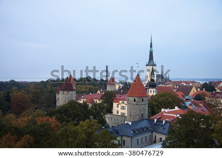 Aerial view to old Tallinn in the fall time