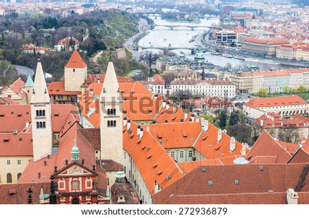 Aerial view to Prague castle (Prazsky hrad) and Vltava river with bridges  - UNESCO world heritage site - Prague, Czech republic - stock photo