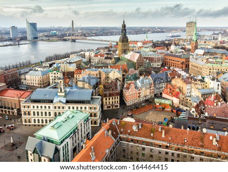 Aerial view to Riga - stock photo
