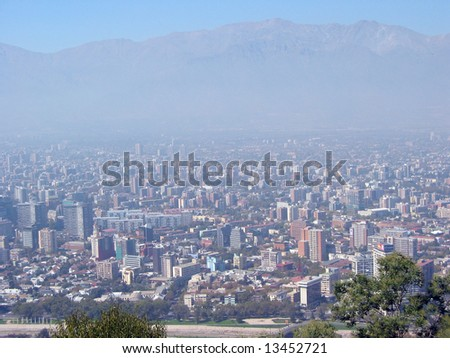Aerial view to Santiago, Chile - stock photo