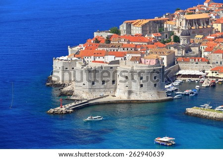 Aerial view to strong bastion defending eastern harbor of Dubrovnik, Croatia - stock photo