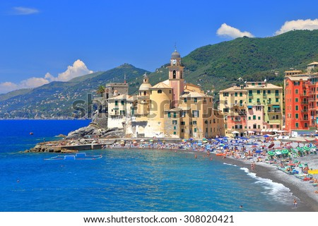 Aerial view to the beach and old buildings by the sea in Camogli, Genoa, Italy