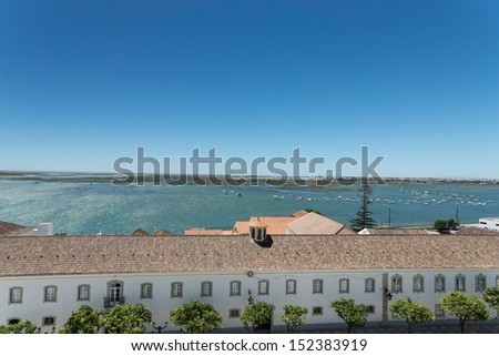 Aerial view to the center of town Faro capital of the Algarve region, Portugal  - stock photo