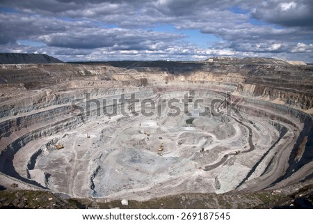 Aerial view to the diamond open mine
