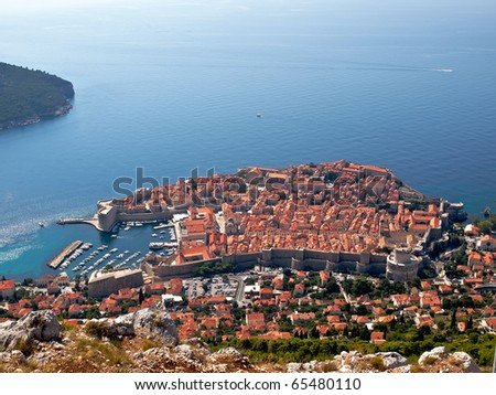 Aerial view to the Dubrovnik town in Croatia - stock photo