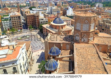 Aerial view to the Metropolitan Cathedral (Basilica of the Assumption of Our Lady of Valencia / Saint Mary's Cathedral / Valencia Cathedral), Valencia, Spain - stock photo
