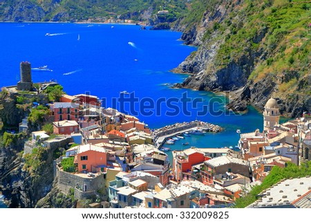 Aerial view to the old harbor of Vernazza, Cinque Terre, Italy
