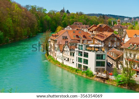 Aerial View to the Roofs of the City of Berne and River Aare in Switzerland - stock photo