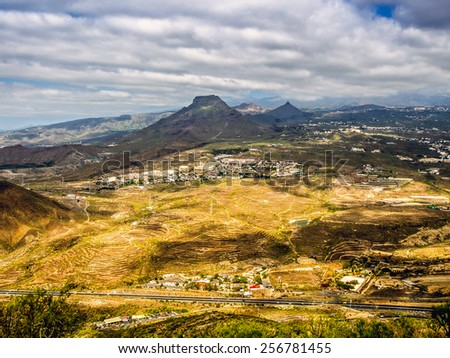 Aerial view to the Roque del Conde. Arona, Tenerife, Canary Islands. Spain - stock photo