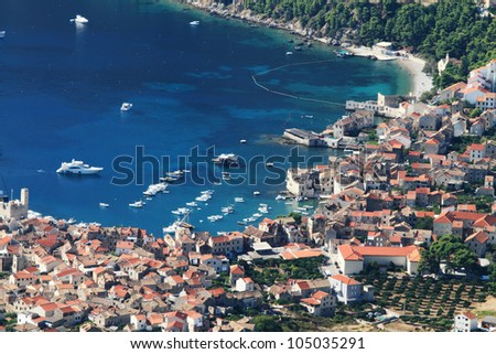 aerial view to the Vis town in Croatia