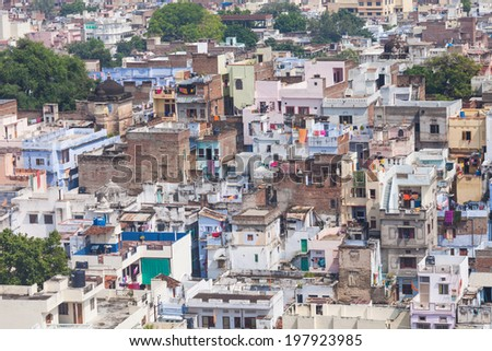 Aerial view to Udaipur city, Rajasthan, India - stock photo