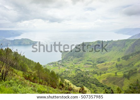 Aerial view Tongging village at toba lake medan indonesia