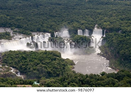 Aerial view toward Argentina's side of Iguazu Falls - stock photo