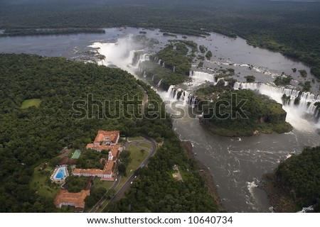 Aerial view toward Brazil's side of Iguazu Falls