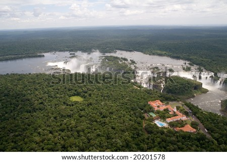 Aerial view toward Brazil's side of Iguazu Falls - stock photo